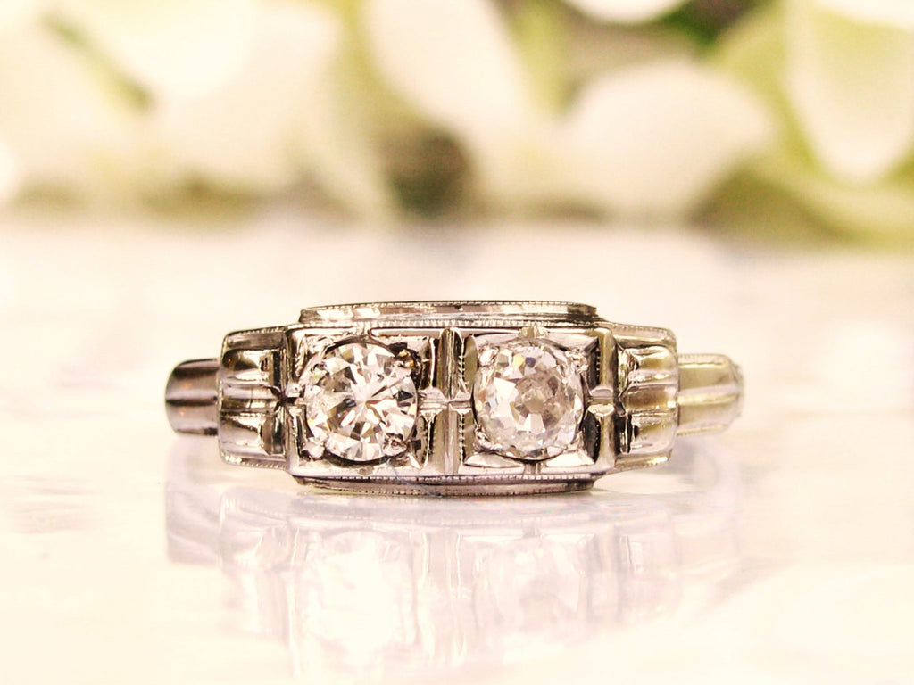 Antique Art Deco Engagement Ring Old Mine Cut Diamond Ring 0.55ctw Toi et Moi Diamond Wedding Ring 14K White Gold Anniversary Ring Size 9!