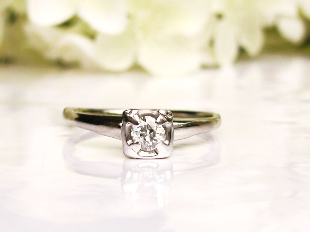 Antique Engagement Ring 0.20ct Old Mine Cut Diamond Wedding Ring 14K White Gold Diamond Solitaire Ring Size 8!
