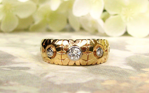 Antique Five Stone Diamond Wedding Ring 0.40ctw Diamond Gypsy Style Ring Floral Wedding Band 14K Gold Antique Anniversary Ring Size 8.75!