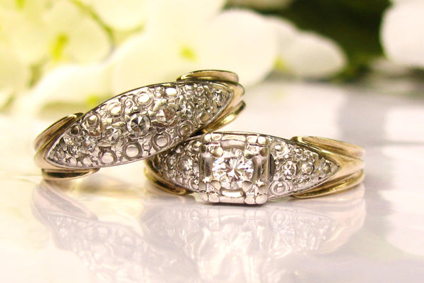 Vintage Engagement Ring 0.46ctw Diamond Bridal Set 14K Two Tone Gold Pave' Diamond Wedding Ring Set by Miracle Size 7!