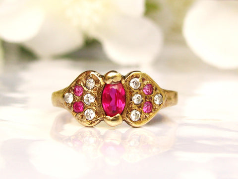 Antique Ruby & Clear Paste Stone Engagement Ring 10K Yellow Gold Petite Antique Ruby Wedding Ring Alternative Engagement Promise Ring Size 7