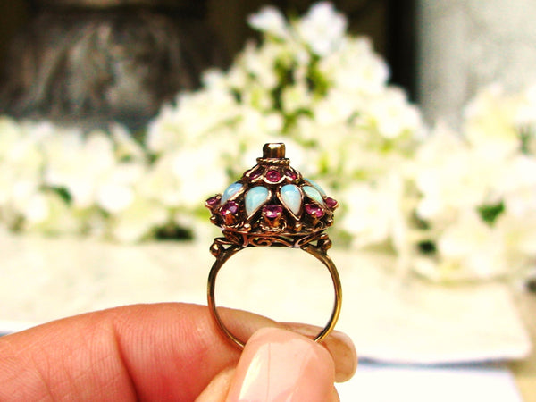 Vintage Opal & Spinel Engagement Ring 10K Yellow Gold Filigree Princess Ring Vintage Harem Wedding Ring Unique Engagement Bridal Jewelry!