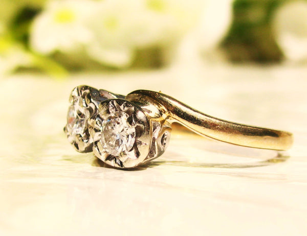 Vintage Toi et Moi Engagement Ring 0.40ctw Transitional Cut Diamond Wedding Ring 14K Two Tone Gold Illusion Setting Unique Engagement Ring!