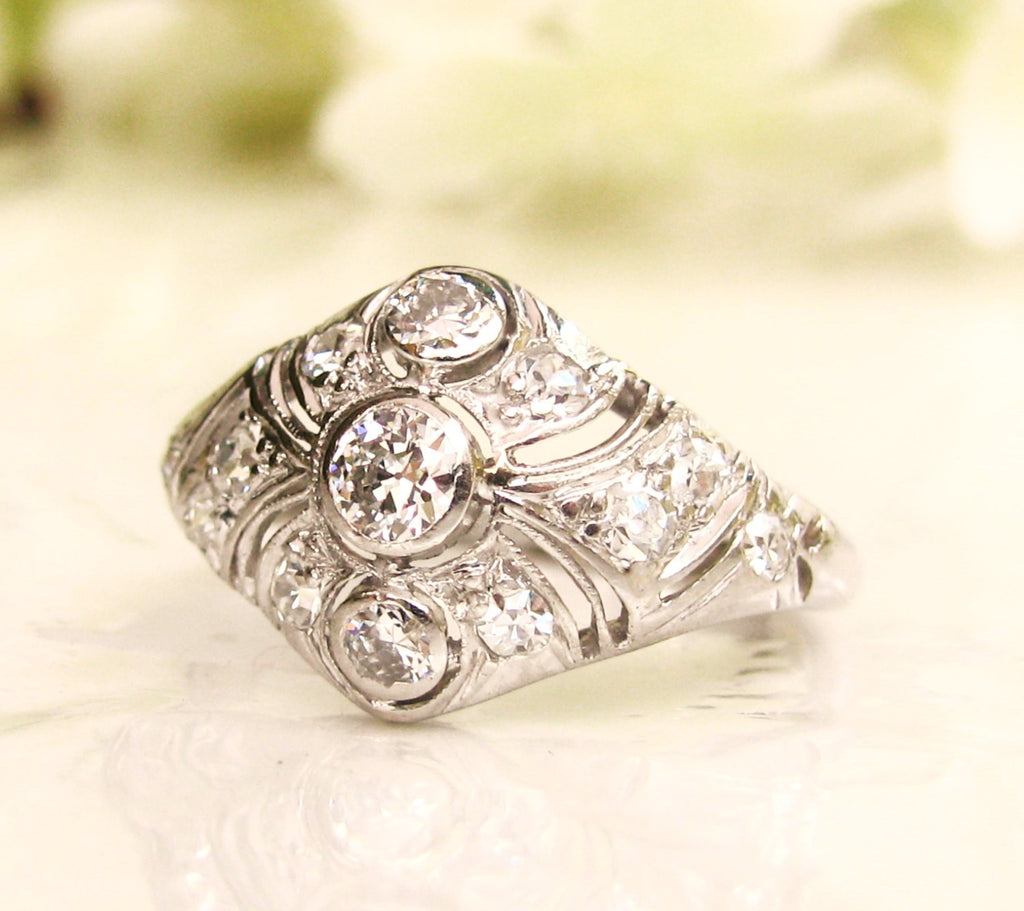 ring engagement european art platinum deco two cut carat diamond antique in rings old product