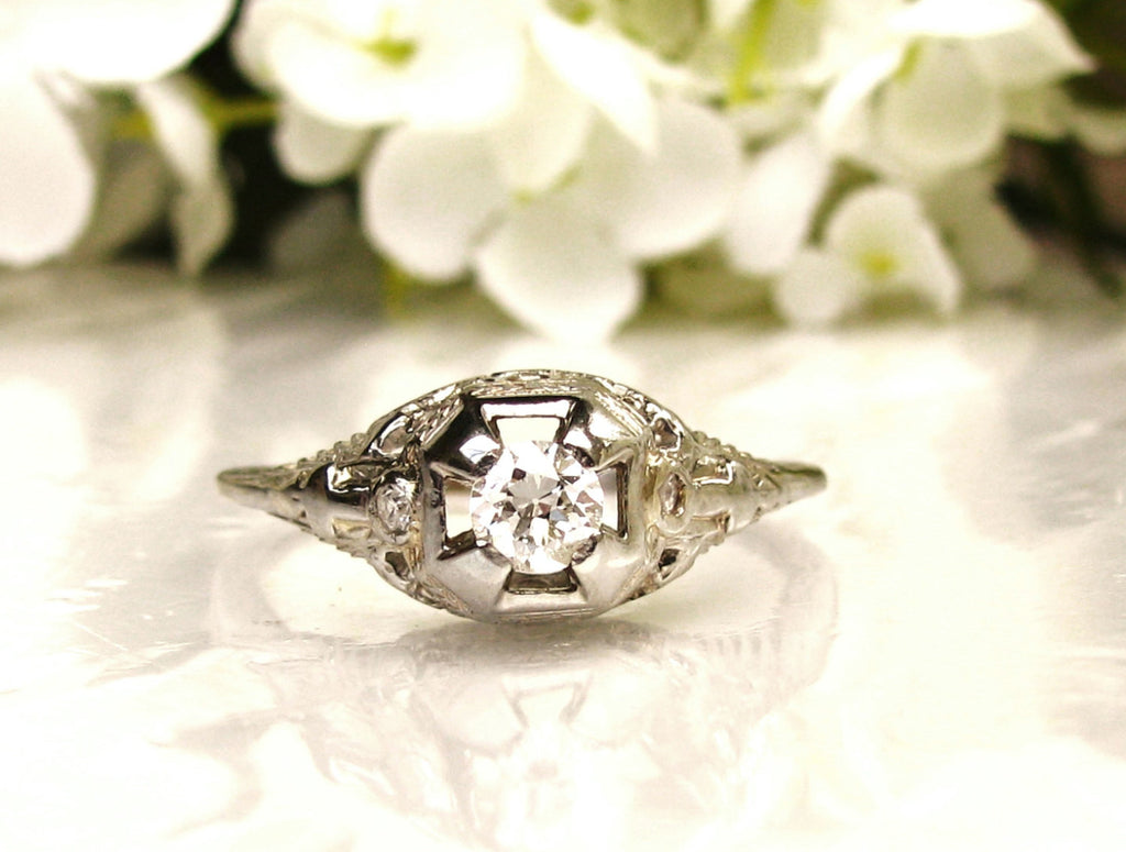 Antique Style Engagement Ring Old European Cut Diamond 18K White Gold Filigree Ring 0.29ctw Diamond Wedding Ring!