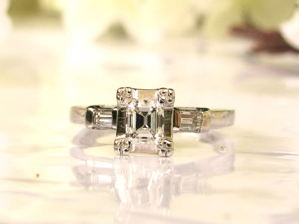 Vintage Engagement Ring 0.58ctw Emerald Cut Diamond Art Deco Engagement Ring 14K White Gold Baguette Diamond Wedding Ring & Appraisal Size 6