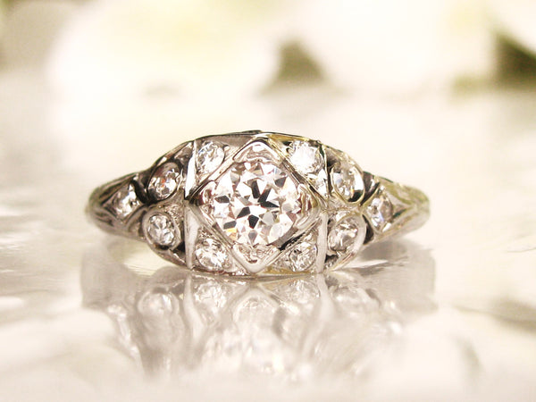 Art Deco Engagement Ring 0.63ctw Diamond Wedding Ring Old European Cut Diamond 14K White Gold Antique Engagement Ring Size 6!