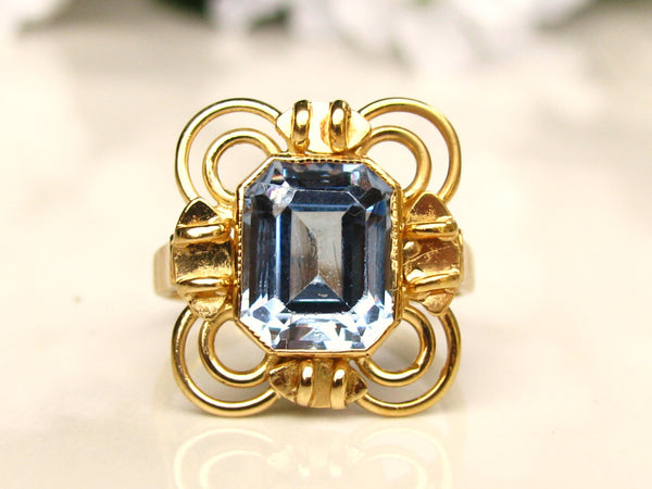 Vintage Engagement Ring 2.62ct Emerald Cut Aquamarine Ring 18K Gold Art Deco Style Ring Alternative Engagement Ring March Birthstone Ring!
