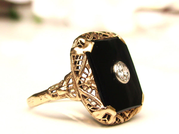 Antique Edwardian Onyx & Diamond Ring 0.20ct European Cut Diamond Antique Engagement Ring 10K Gold Filigree Antique Diamond Wedding Ring!