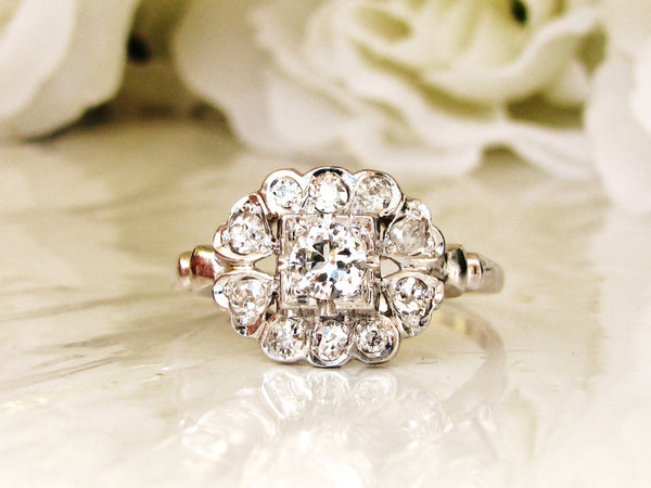 Heart Motif Art Deco Engagement Ring Transitional Cut Diamond 0.79ctw Wedding Ring 14K White Gold Antique Engagement Ring & Appraisal!