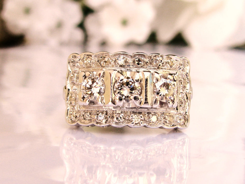 Art deco style vintage engagement ring 0.68ctw diamond cluster