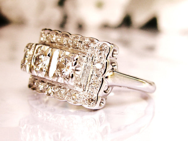 Art Deco Style Vintage Engagement Ring 0.68ctw Diamond Cluster Wedding Band 14K White Gold Anniversary Ring Vintage Bridal Jewelry!