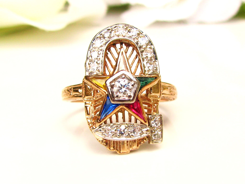 Vintage Order of the Eastern Star Ring Past Worthy Matron OES Ring 0 53ctw  Diamond Ring 14K Gold Filigree Ornate Ladies Masonic Ring