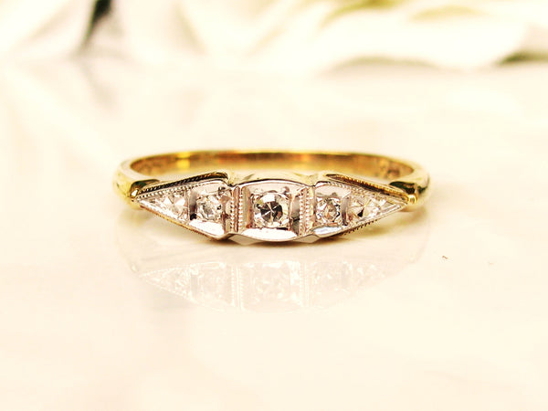 Art Deco Wedding Ring 14K Two Tone Gold Petite Diamond Ladies Antique Wedding Band Stackable Ring Size 6
