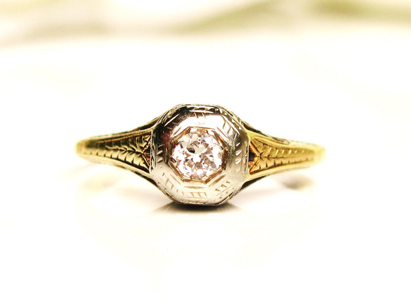 Antique Engagement Ring Petite Old European Cut Diamond Wedding Ring 14K Two Tone Gold Filigree Ring Art Deco Diamond Promise Ring Size 4.5!