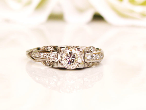 Platinum Art Deco Engagement Ring 0.45ctw Diamond Antique Wedding Ring Size 4!