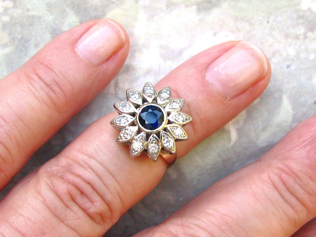 Dark Blue Spinel & Diamond Halo Engagement Ring 14K Two Tone Gold ...