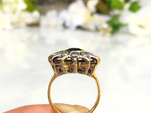 Dark Blue Spinel & Diamond Halo Engagement Ring 14K Two Tone Gold Floral Diamond Wedding Ring Alternative Vintage Engagement Ring Size 4