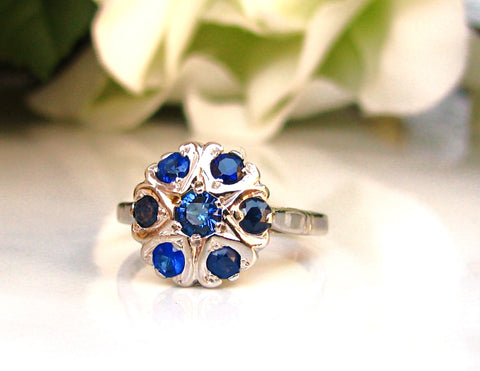 Sapphire & Blue Glass Heart Motif Engagement Ring 14K White Gold Daisy Style Wedding Ring Something Blue Bridal Jewelry Valentine Day Gift