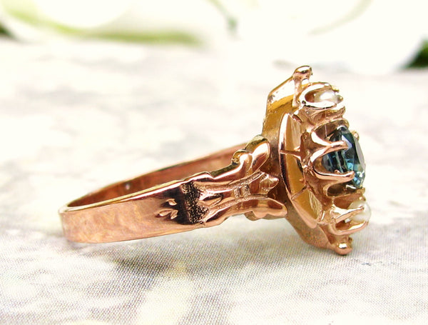 Vintage Blue Spinel & Pearl Victorian Engagement Ring 14K Rose Gold Antique Wedding Ring Vintage Bridal Jewelry Promise Ring Size 6