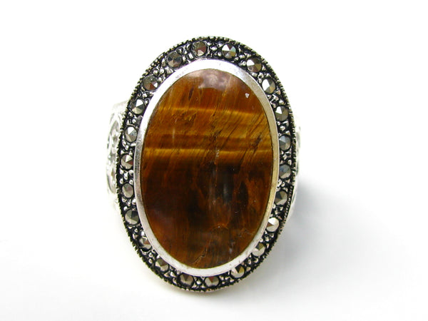 Vintage Tiger's Eye & Marcasite Silver Scroll Filigree Ring Large Oval Bezel Set Tigers Eye Statement Ring Silver Jewelry Size 7