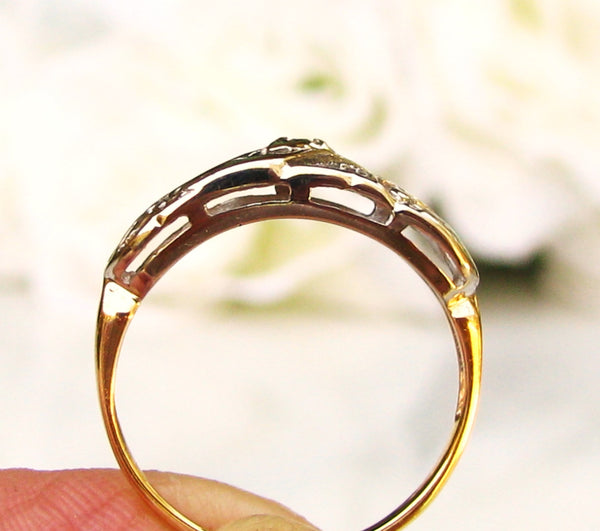 Vintage Scroll Design Diamond Wedding Band 14K Two Tone Gold Diamond Wedding Ring Ladies Diamond Wedding Band Anniversary Ring!