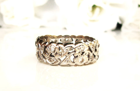 Antique Wide Diamond Eternity Wedding Band 14K White Gold Filigree Edwardian Diamond Wedding Ring Ornate Diamond Eternity Band Size 8.25!