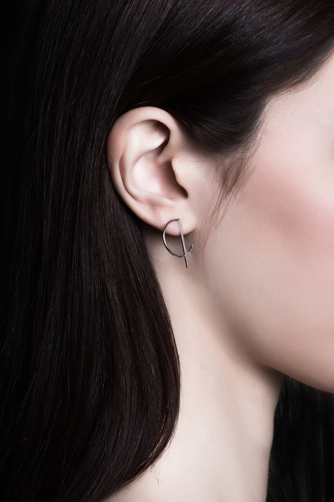 925 Silver Circle & Bar Earrings