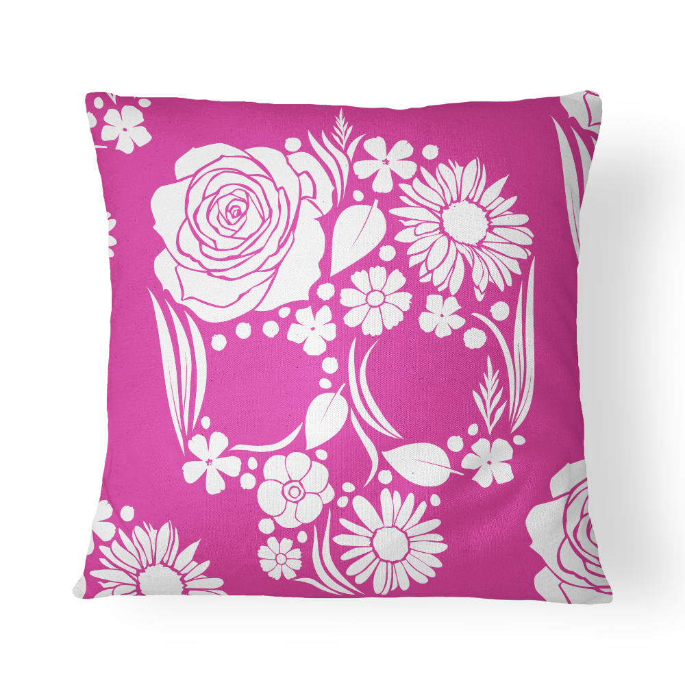 Floweristic Skull Pillow Cover