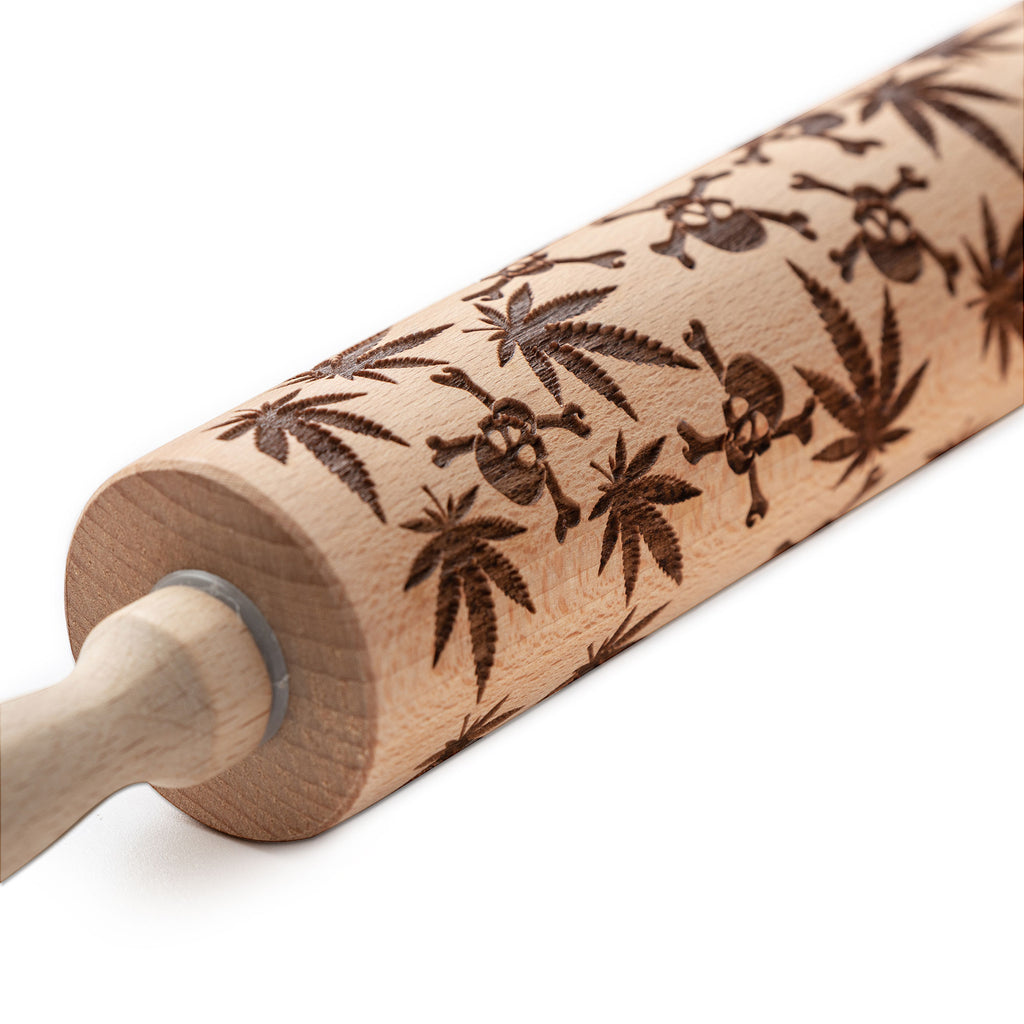 Skulls & Weed Leaves Embossed Pastry Rolling Pin