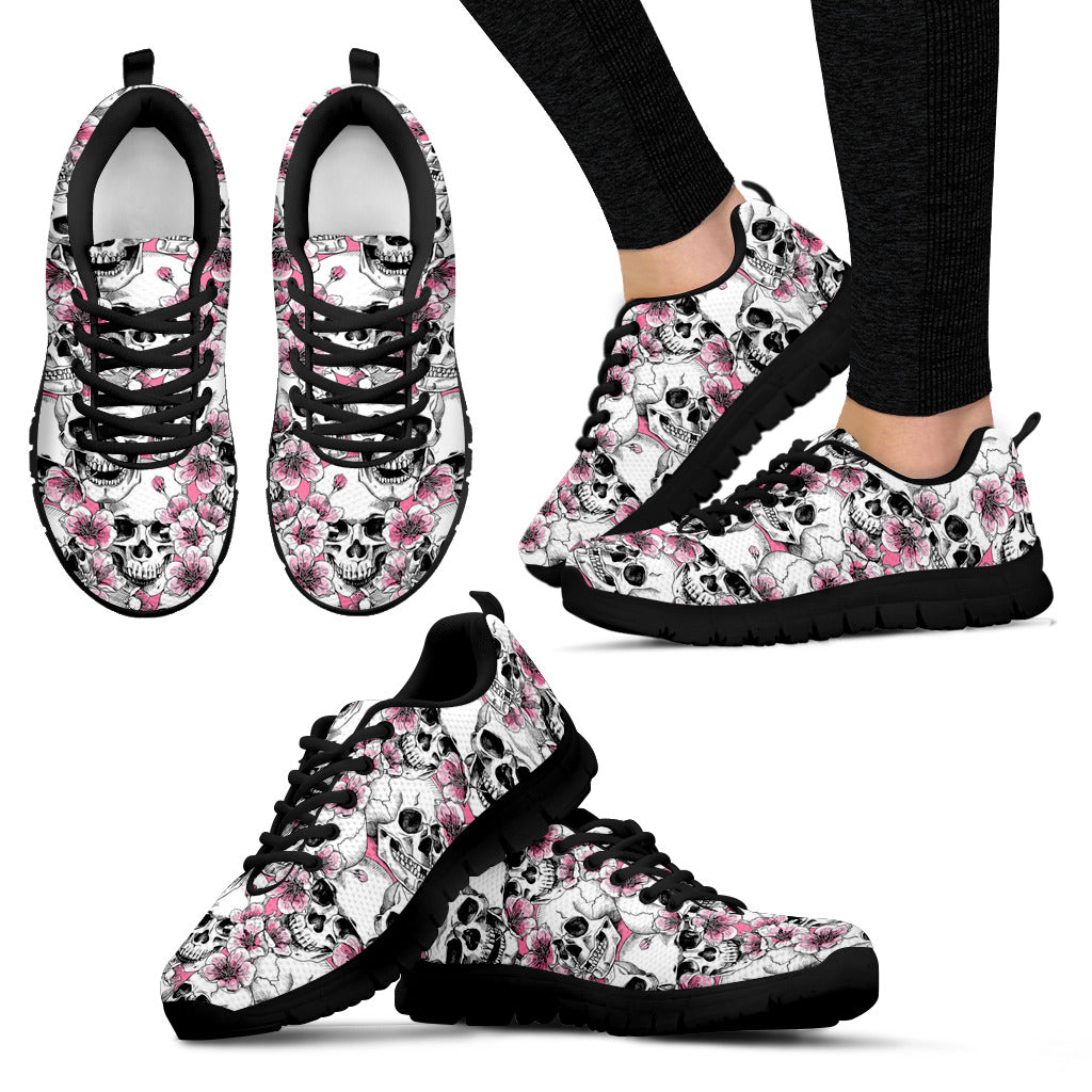 Pink Lady Skulls Women`s Sneakers