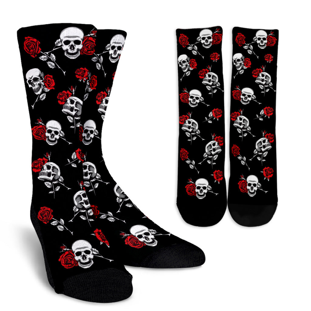 Death Rose Skull Socks