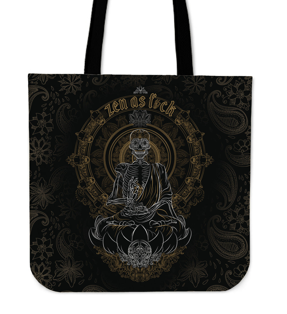 Skullistic Zen Meditating Skeleton Tote Bag