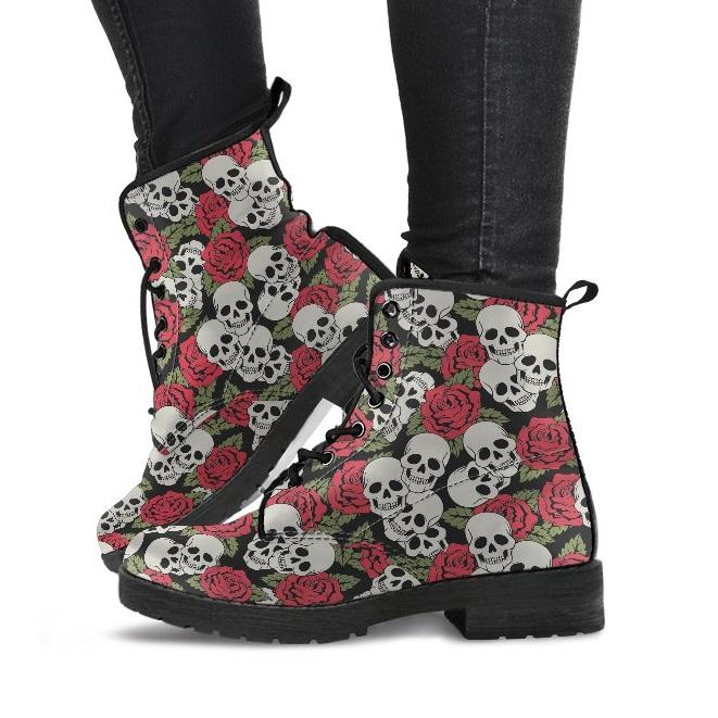 Red Roses and Skulls Women's Boots