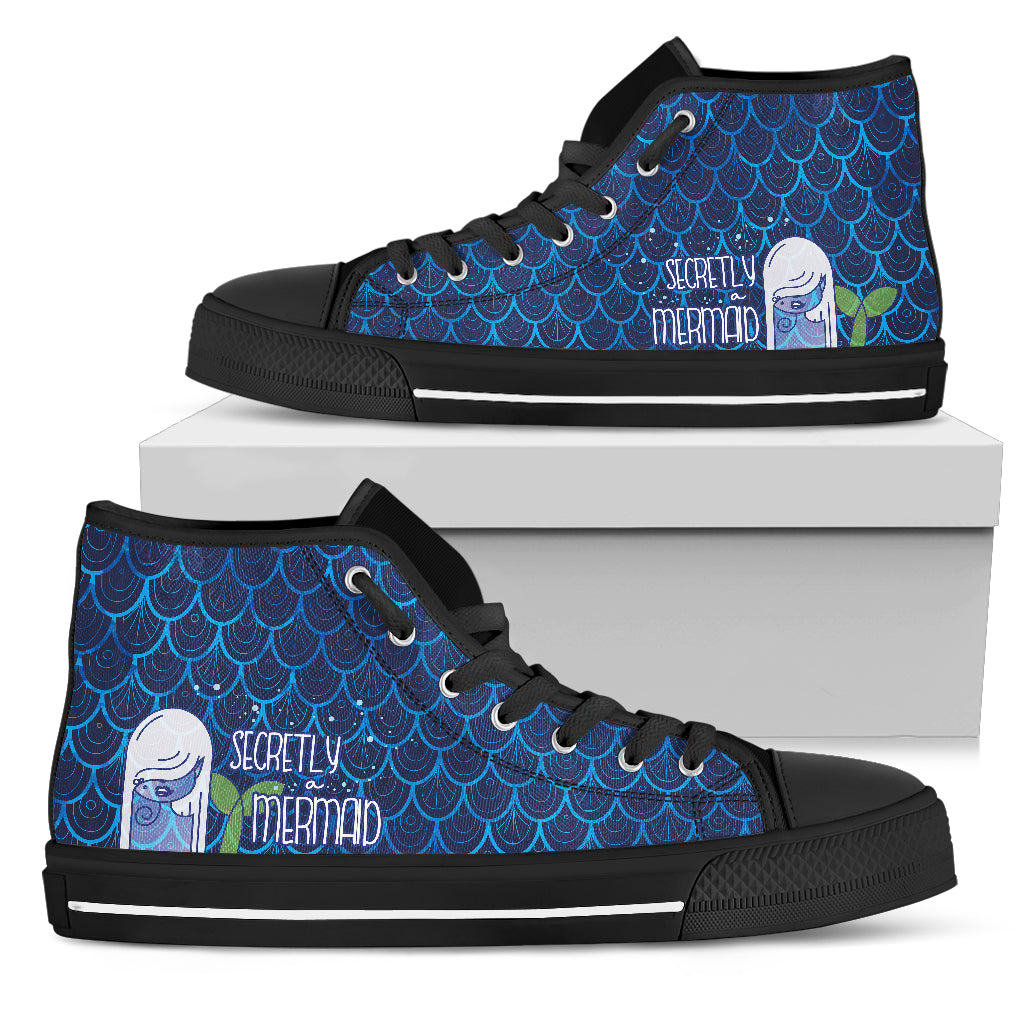 Secretly A Mermaid High Top Canvas Shoes