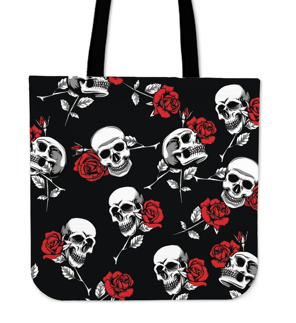 Death Rose Skull Tote Bag