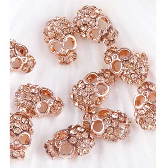 Rose Gold Skulls Nail Art Decorations - 10 Pcs