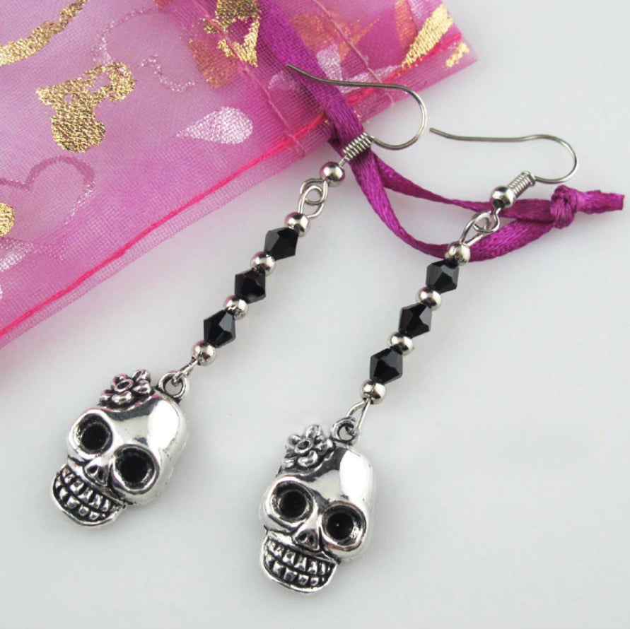 Spring Skull Drop Earrings