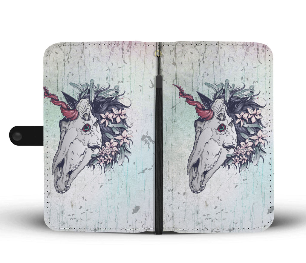 Unicorn Skull Turquoise Grunge Phone Wallet Case