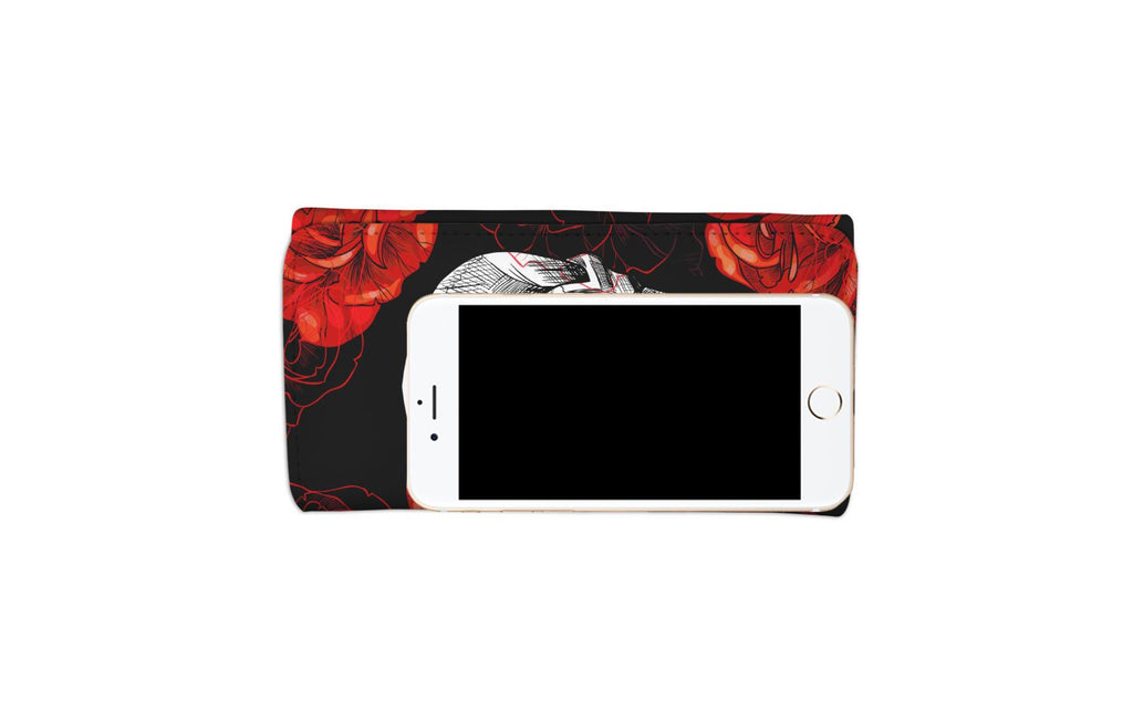 Red Flower Skull Women's Wallet