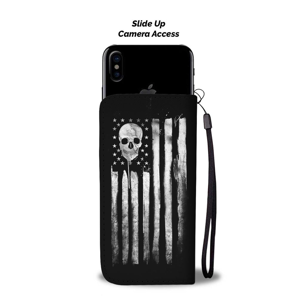 American Skull Nation White Phone Wallet Case