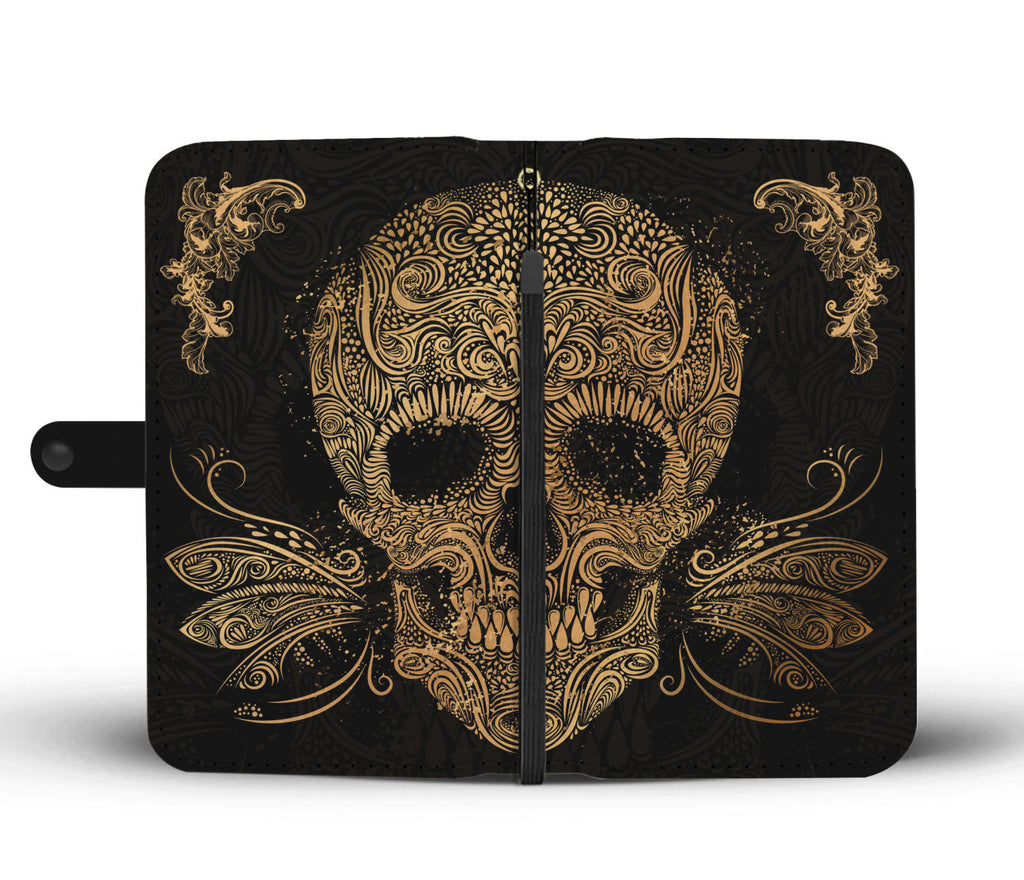 Golden Sugar Skull Wallet Phone Case