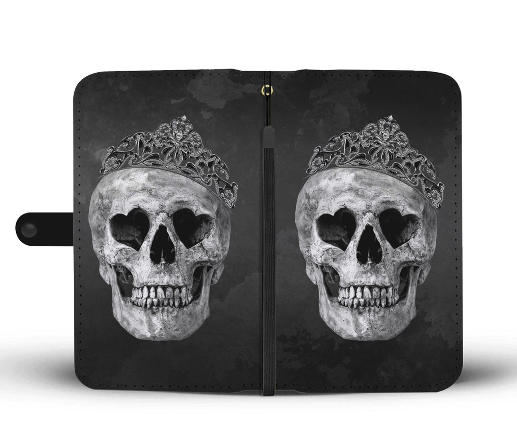 Skullistic Crown Skull Grey Wallet Phone Case