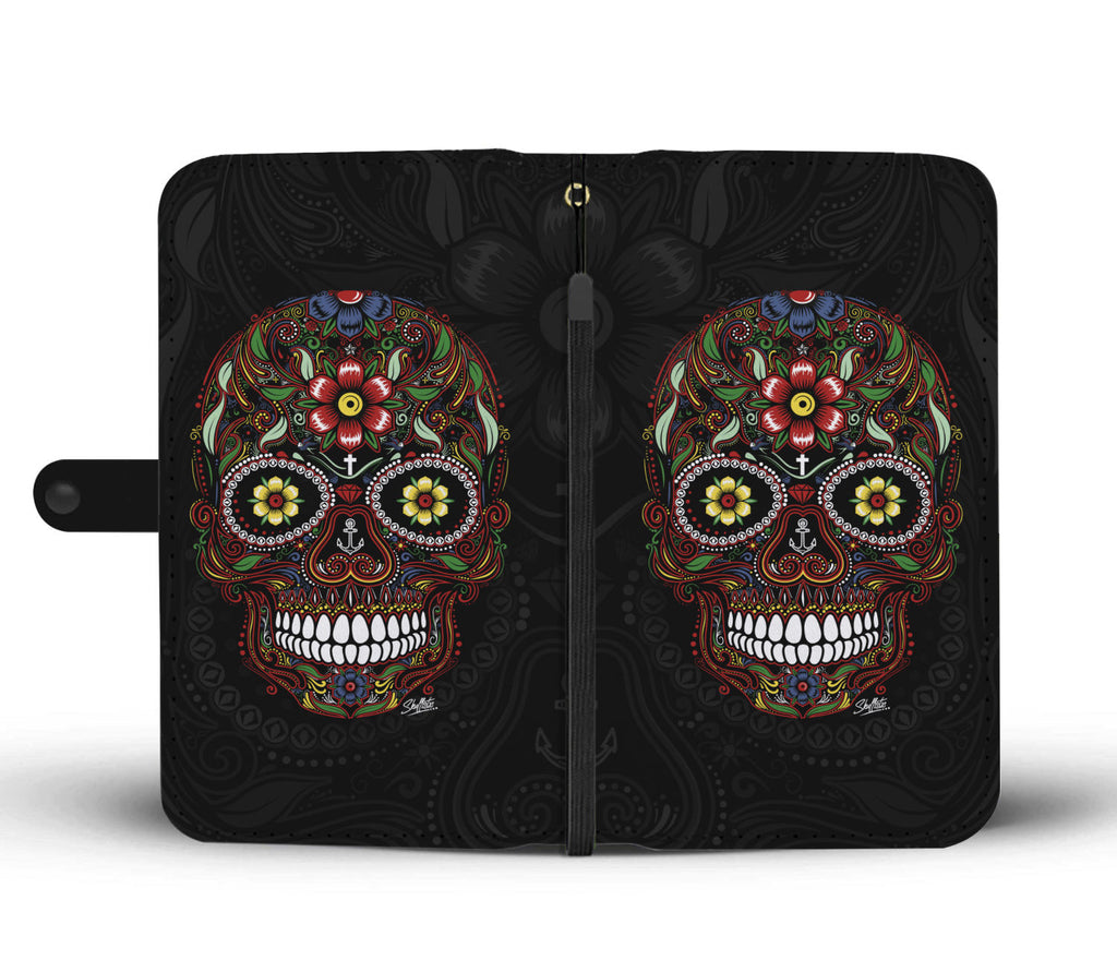 Flower Sugar Skull Wallet case