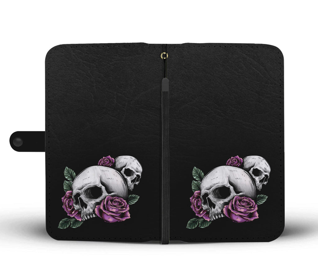 Purple Roses Skull Black Phone Wallet Case