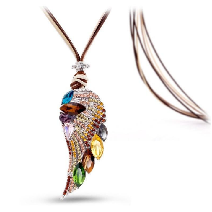 Rose Gold Plated Crystal Feather Necklace