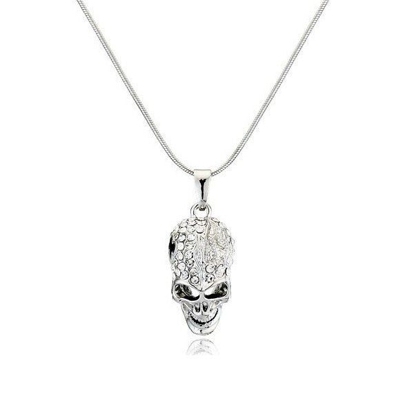 White Gold Plated Crystal Skull Necklace