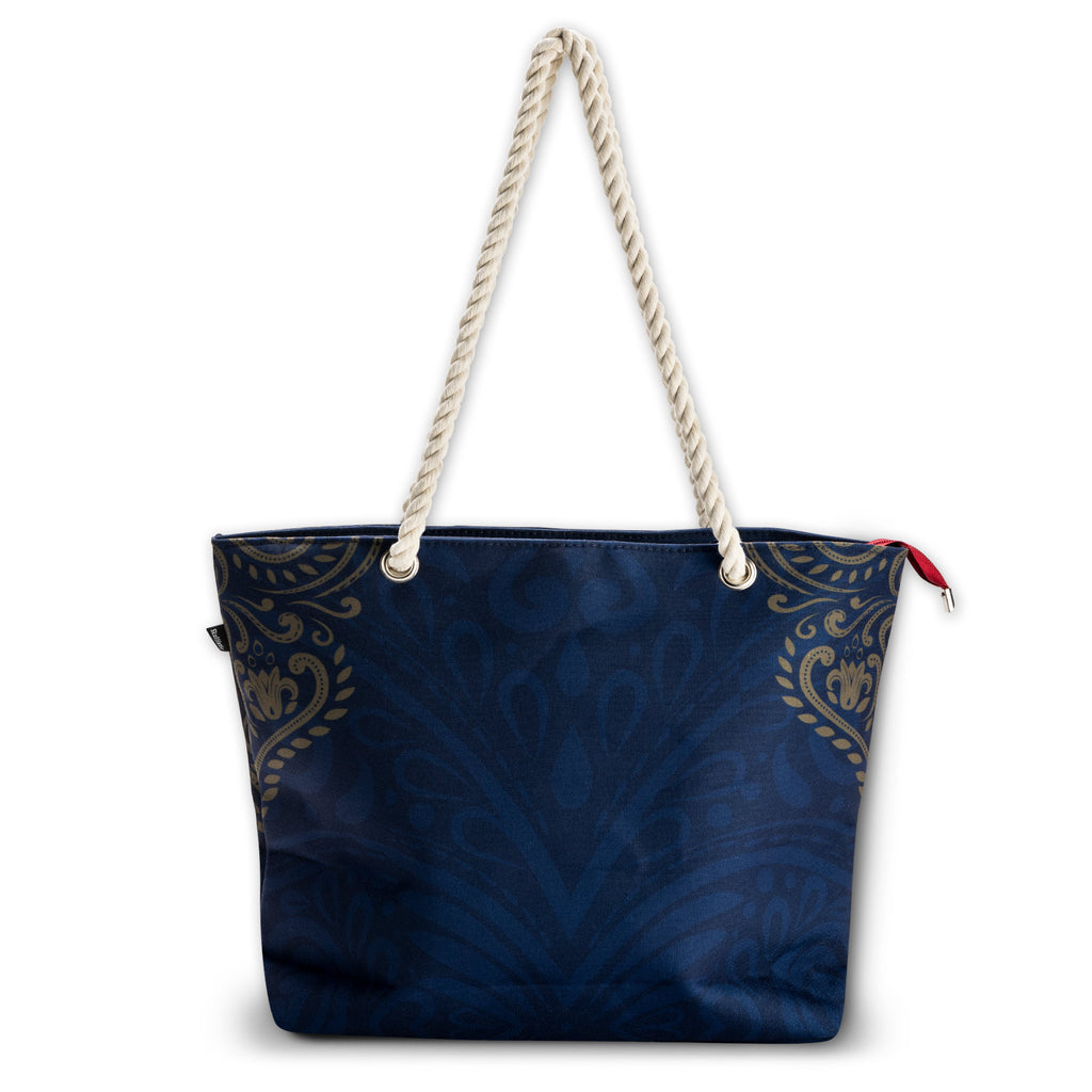 Rose Skull Navy Shoulder Beach Bag back