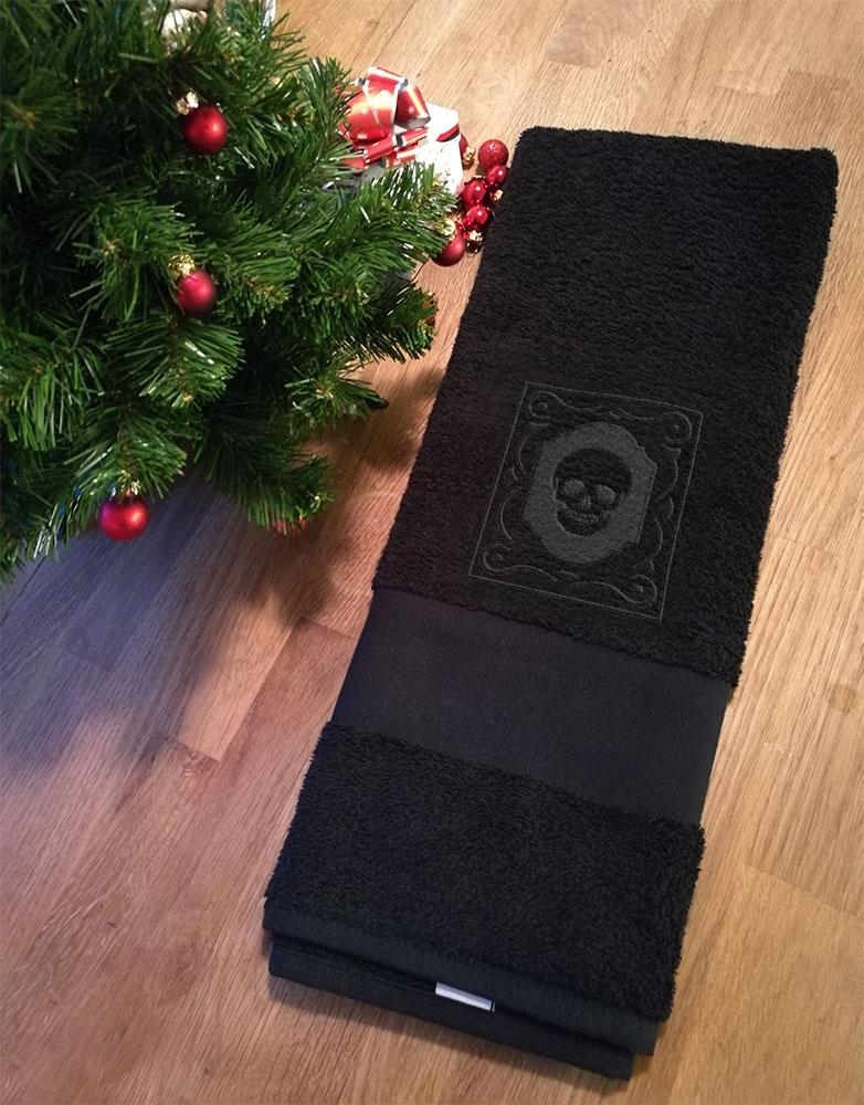 Embossed Skull Hand Towel