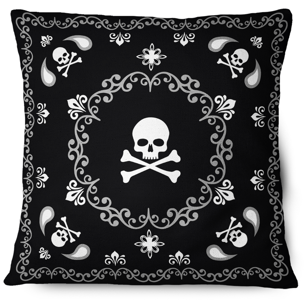 Mandala Skulls Pillow Cover Black